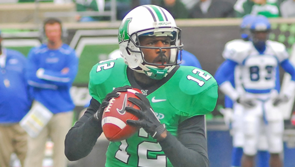 Marshall Thundering Herd quarterback Rakeem Cato will lead a high-scoring offense against Maryland in the Military Bowl that kickos off at 2:30 p.m. Friday. (Kent Sanborn of Southern Ohio Sports Photos)