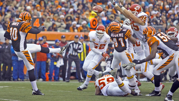 Cincinnati Bengals' punter Kevin Huber has been lost for the season after suffering a broken jaw in Sunday night's loss to the Pittsburgh Steelers. Huber is scheduled for surgery on Friday. (MCT Direct photo)