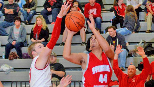 Symmes Valley's Tyler Rowe (44) scores two of his 23 points in the Vikings 57-49 win Tuesday. (Kent Sanborn of Southern Ohio Sports Photos)
