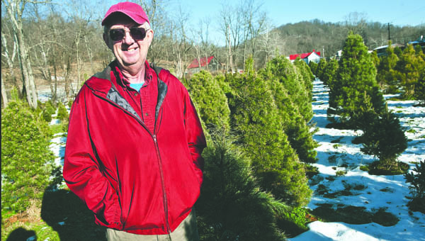 Tom Pinkerman, of Proctorville, is seen amongst his rows of Christmas trees at his business located off of State Route 775.