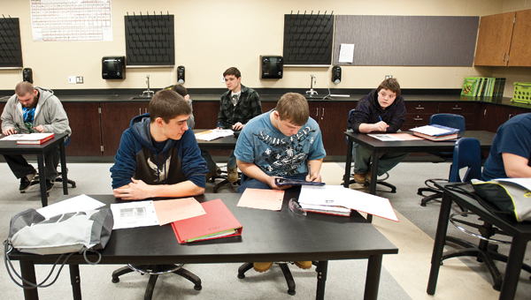 Students study in one of the science labs.