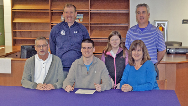 Chesapeake Panthers' senior golfer Drew Oxley signed a letter-of-intent to play for Shawnee State University. Attending the signing ceremony were: seated from left to right, father Delbert Oxley, Drew, and mother Kimberly Oxley; standing from left to right, Shawnee State assistant coach David Hopkins, sister Madison Oxley, and Chesapeake head coach Terry Kimball. (The Ironton Tribune / Jimmy Walker)