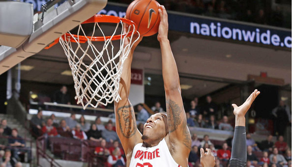 Ohio State's Amir Williams (23) dunks in Saturday's win against Purdue. The Buckeyes face Michigan on Tuesday in a Big Ten game. (MCT Direct Photos)