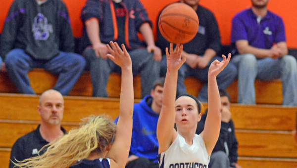 Chesapeake's Huff (11) hits a jump shot in the fourth quarter but the Lady Panthers lost 54-36 to Wellston in the Div. III district semifinals Monday. (Kent Sanborn of Southern Ohio Sports Photos)