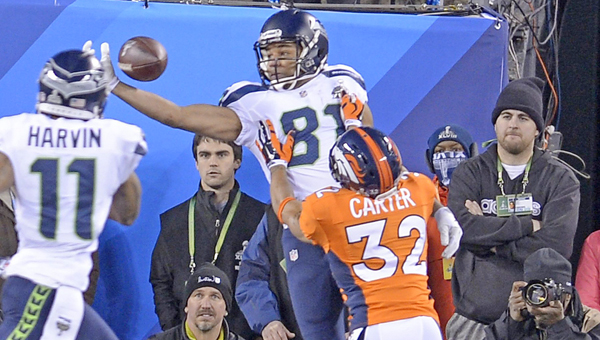 Seattle Seahawks' wide receiver Golden Tate (81) catches a pass against the Denver Broncos in the second quarter of Super Bowl XLVIII at MetLife Stadium in East Rutherford, N.J., on Sunday. Seattle won 43-8. (MCT DIrect Photo)