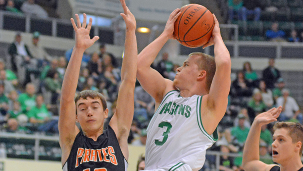Fairland Dragons' Thayer Flynn (3) drives for a layup during Sunday's Division III district championship game. Fairland lost 52-50 on a last-second shot to Wheelersburg. (Kent Sanborn of Southern Ohio Sports Photos)