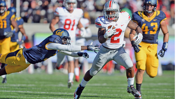 Ohio State's Rod Smith (2) heads downfield against Cal in the first half at Memorial Stadium in Berkeley, Calif., last season. Smith is one of several candidates to fill Carlos Hyde's running back position. (MCT Direct Photo)