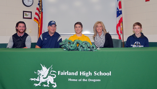 Fairland Dragons' senior wide receiver Kyle Sowards signed a letter-of-intent Wednesday to play football at Alderson-Broaddus University. Attending the ceremony were: seated from left to right, brother Tanner, father Gary, Kyle, mother Trena and brother Reilly. (Kent Sanborn of Southern Ohio Sports Photos.com)
