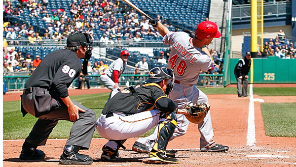 Cincinnati's Ryan Ludwick (48) connects for a two-run double in the sixth inning as the Reds beat the Pittsburgh Pirates 2-1 on Thursday. (Photo Courtesy of The Cincinnati Reds)