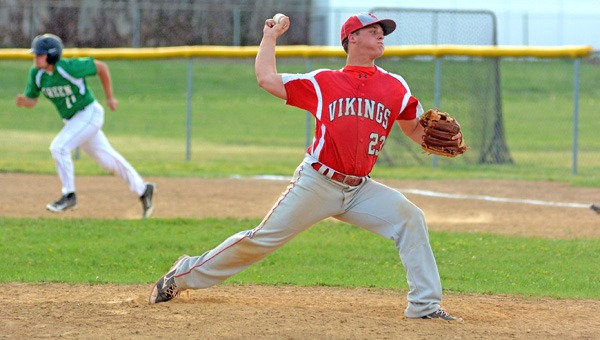Symmes Valley junior pitcher Tanner Mays struck out 15 and gave up one hit in six innings as the Vikings beat Green 14-2 Monday in a Southern Ohio Conference game. (Kent Sanborn of Southern Ohio Sports Photos)