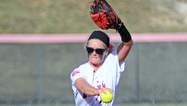 Rock Hill Redwomen pitcher Sami Nixon tossed a one-hitter in a 10-0 win over the Green Lady Bobcats on Tuesday. (Kent Sanborn of Southern Ohio Sports Photos)