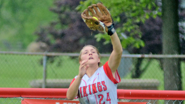 Symmes Valley Lady Vikigns' outfielder Hannah Maynard makes a catch of a fly ball during Tuesday's Division IV district tournament game. The Lady Vikings lost 2-0. (Kent Sanborn of Southern Ohio Sports Photos)