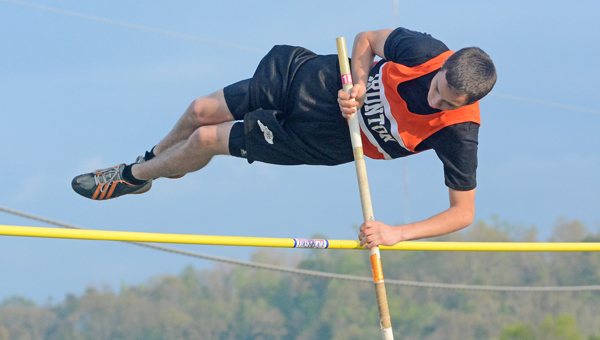 Ironton Fighting Tigers' junior pole vaulter Tim Maynard was third in the Division III district track meet and earned a trip to the regional meet next week at Lancaster Fairfield Union High School. (Kent Sanborn of Southern Ohio Sports Photos)