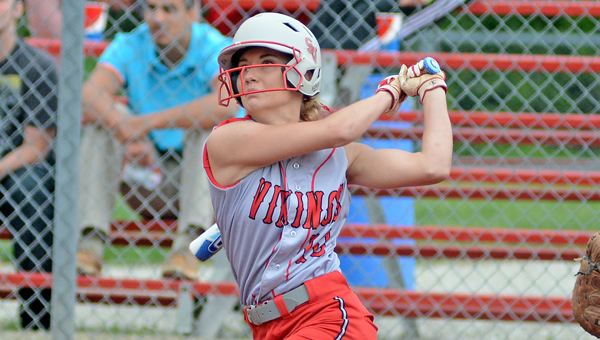 Symmes Valley Lady Vikings' Stephanie Brown connects for a home run during a 12-0 win over East on Thursday. (Kent Sanborn of Southern Ohio Sports Photos)