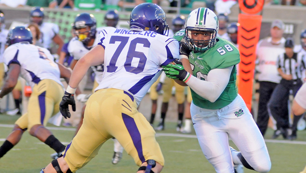 Marshall defensive lineman and former South Point standout Jeremiah Taylor (58) signed a free agent contract with the Baltimore Ravens following the 2014 NFL draft. (Kent Sanborn of Southern Ohio Sports Photos)