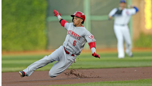 Cincinnati Reds' Billy Hamilton doubles to lead off the 1st inning against the Chicago Cubs' Jeff Samardzija at Wrigley Field in Chicago on Monday. Devin Mesoraco hit a grand slam in the ninth inning as the Reds won 6-1. (MCT Direct Photo)