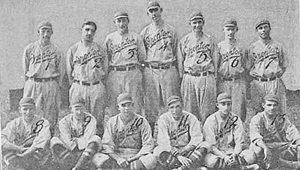 Members of the 1913 Ironton Nailers minor league baseball team were: front row from left to right, Taylor Farrell, Waldo Jackley, Floyd Cornwell, James Frost, Arch Osborne and Michael Whalen; second row from left to right, Alvin Nally, Arthur Long, Thomas Grieve, Bill Thompson, John Kendall, Guy McWhorter and Louis Schwab. (Photo Submitted)