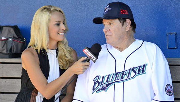 Major League Baseball all-time hits leader Pete Rose — banned for life due to gambling — managed the non-affiliated Bridgeport Bluefish minor league team Monday.