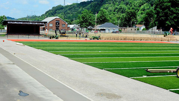 The field turf project is nearly completion at Ironton's Tanks Memorial Stadium. (Kent Sanborn of Southern Ohio Sports Photos.com)
