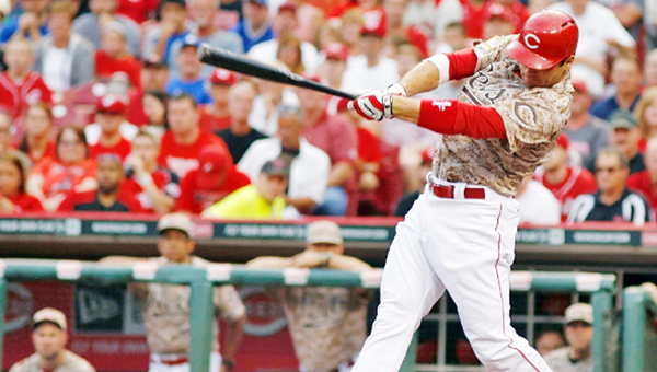 Cincinnati first baseman Joey Votto connects for a run-scoring double in the third inning Wednesday as the Reds beat the Los Angeles Dodgers 5-0. (Photo Courtesy of The Cincinnati Reds)