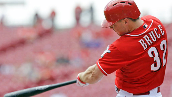 Cincinnati outfielder Jay Bruce hit a two-run homer in the first inning of the first game of a day-night doubleheader on Tuesday as the Reds beat the Chicago Cubs 4-2. The Reds rallied in the second game to win 6-5. (Courtesy of the Cincinnati Reds.com)