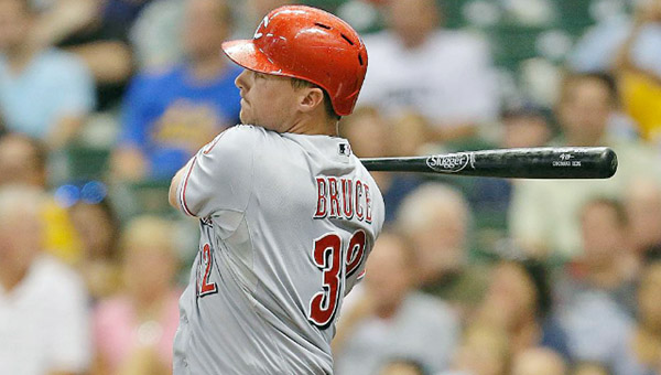 Cincinnati Reds' outfielder Jay Bruce doubled home a run in the fourth inning of Tuesday's game against the Milwaukee Brewers. The Reds tied game at 3-3 only to lose 4-3 in the ninth inning on a home run by Jonathan Lucroy, his second solo shot of the game. (Courtesy of The Cincinnati Reds.com)