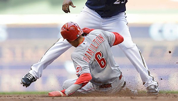 Cincinnati Reds' Billy Hamilton (6) steals second base during the third inning of Wednesday's game against the Milwaukee Brewers. The Reds lost their sixth straight adn fell five and one-half games behind the Brewers who won 5-1. (Courtesy of The Cincinnati Reds.com)