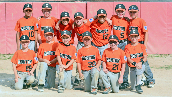 "The Ironton 7-8-year-old All-Stars won the District 11 championship and then went on to capture the state championship. Ironton won the state title among a field that consisted of Cincinnati Hamilton Fairfield East, Cincinnati Hamilton West Side, Cambridge, Columbus Lakewood, Rock Hill, Chesapeake and Wheelersburg. Team members are: front row from left to right, Anthony ""A.J."" Daniels, Drew Brown, Ian Ginger, Hunter Freeman, Darryn ""D"" Harvey and Tommy Sheridan; back row from left to right, Joshua Johnson, Braden ""Biggie"" Schreck, Jonathon Wylie, Connor Kleinman, Kerstin Roach, Owen Johnson and Brady Moatz. (Kent Sanborn of Southern Ohio Sports Photos.com)"