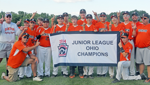 The Ironton Junior League 13-14 age division won the state championship in Oxford on Thursday and will play in the regional tournament beginning Friday. Team members are: front row from left to right, manager Mike DePriest and Brycen Thomas; second row from left to right, coach Lou Mains, Quinn DePriest, Tyler Malone, Ethan Duncan, Gage Butler, Tre Neal, Brady Rowe, Justin McSorley, Tanner Bowles and coach Brett Thomas; third row from left to right, Chanston Bryant, Matthew Murnahan, Garrett Carrico, Chase Walters and coach Kevin Kouns. (Photo Submitted)