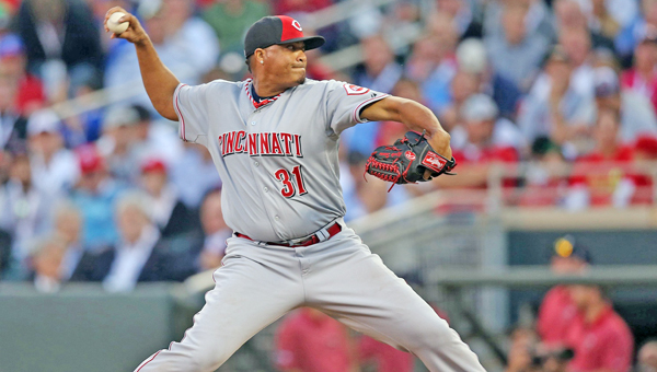 Cincinnati Reds' pitcher Alfredo Simon delivers a pitch during Tuesday's MLB All-Star Game. Simon was making his first all-star appearance. The American League beat the National League 5-3 and gained the homefield advantage for the World Series. (MCT Direct Photo)