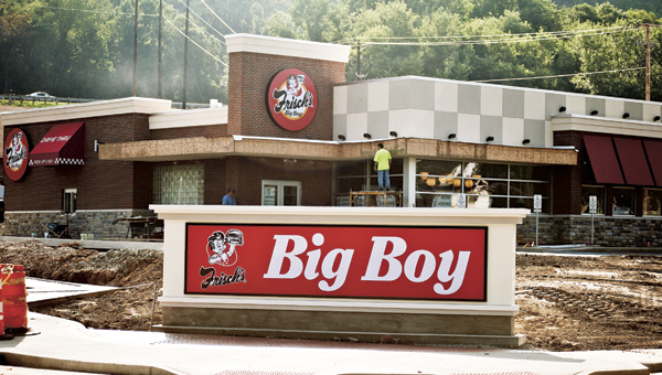 THE TRIBUNE/JESSICA ST JAMES With an opening date of Aug. 11 drawing near, work continues on the Frisch's Big Boy on South Ninth Street.
