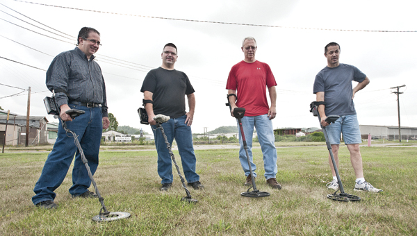 Jim Curley, Gleo Runyon, Dan Johnson, Shawn Upchurch are current Ironton treasure hunters who have taken to the grounds where the former Ironton pool once had been. Their findings include a horseshoe, jewelry, antique monies and much more.
