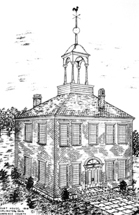 A sketch of the original courthouse located in Burlington.
