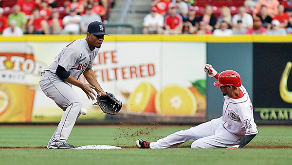 Cincinnati's Billy Hamiton steals second base during the first inning of Tuesday's game. Hamilton scored but the Reds lost to the Boston Red Sox 3-2. (Photo Courtesy of The Cincinnati Reds.Com)