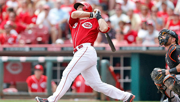Cincinnati Reds' catcher Devin Mesoraco drove in a career-high six runs with two home runs including his third grand slam of the season in a 7-2 win over the Miami Marlins on Sunday to give Johnny Cueto his 14th win of the season. (Courtesy of the Cincinnati Reds.com)