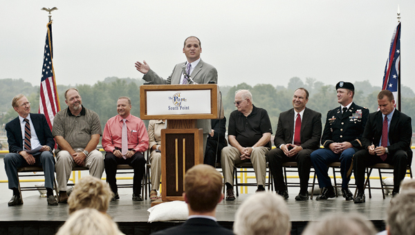 THE TRIBUNE/JESSICA ST JAMES Jeremy Clay, The Point director, addresses the crowd Tuesday during the Port of South Point dedication ceremony.