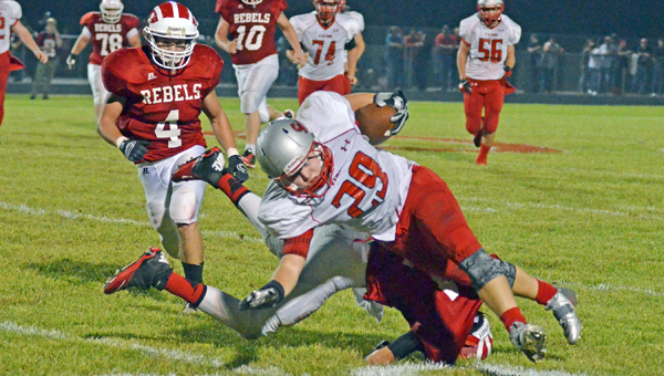 Symmes Valley Vikings' Cameron Meadows (29) fights for some extra yardage after catching a pass during Friday's 19-12 win over the South Gallia Rebels. (ROBERT S. STEVENS & THE GOLD STUDIO OF IRONTON)