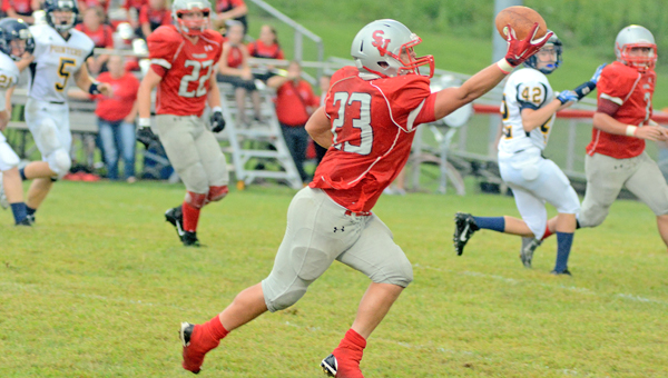 Symmes Valley Vikings' running back Tanner Mays (23) makes a one-handed catch during a game earlier this season. (Kent Sanborn Of Southern Ohio Sports Photos.com)