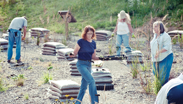 Lorraine Miller, center, is one of many volunteers working on the native plant garden located at the St. Mary's Medical Center Ironton Campus.