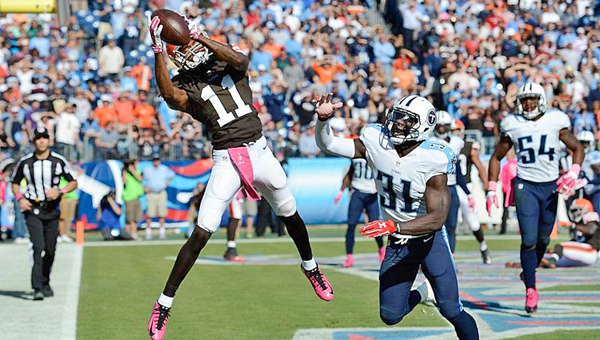 Cleveland wide receiver Travis Benjamin (11) catches a 6-yard touchdown pass with 1:01 left to ply that gave the Browns a 29-28 win over the Tennessee Titans on Sunday. The win was the largest comeback by a road team in NFL history. (Photo Courtesy of The Cleveland Browns.com)