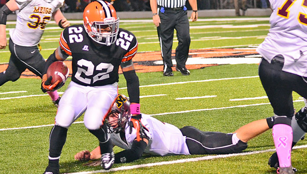 Ironton Fighting Tigers' junior running back D'Angelo Palladino (22) has now rushed for 1,106 yards on the season through seven games. Ironton plays at unbeaten Division III Jackson on Friday. (Tony Shotsky of Southern Ohio Sports Photos)