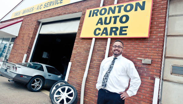 THE TRIBUNE/JESSICA ST JAMES Jay Ferrell stands outside his new business, Ironton Auto Care, located on South Third Street in Ironton.