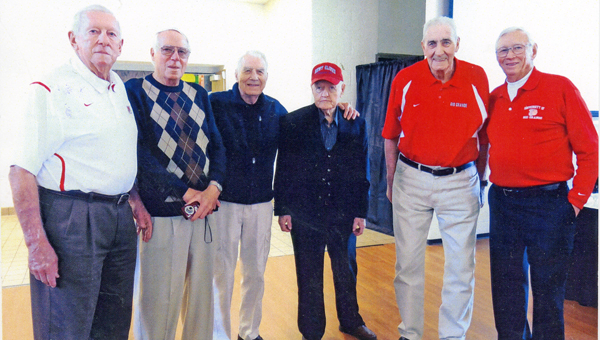 The remaining living members of the 1953-54 Rio Grande men's basketball team are: from left to right, Dick Myers, Dick Barr, Wayne Wiseman, coach Newt Oliver, Bevo Francis and Don Vynalek. (Photo Submitted)