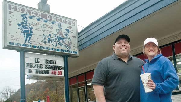 the tribune/jessica st. james James Hamlin, left, and his wife, Tiffany, are the new owners of the Shake Shoppe on Liberty Avenue in Ironton. The Hamlins bought the restaurant last month.