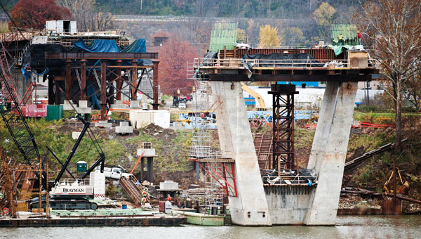 Construction of the new Ironton-Russell Bridge as seen from Russell, Kentcuky, Wednesday morning.