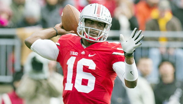 Ohio State Buckeyes red-shirt quarterback J.T. Barrett (16) and his ex-girlfriend made 911 calls alleging abuse charges at the other. (MCT Direct Photos)