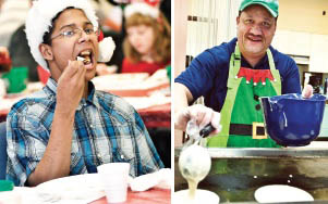 """(LEFT) Austin Johnson eats pancakes and sausage. (RIGHT) Brian Fletcher makes pancakes for the Kiwanis Club's annual """"Breakfast with Santa."""""""