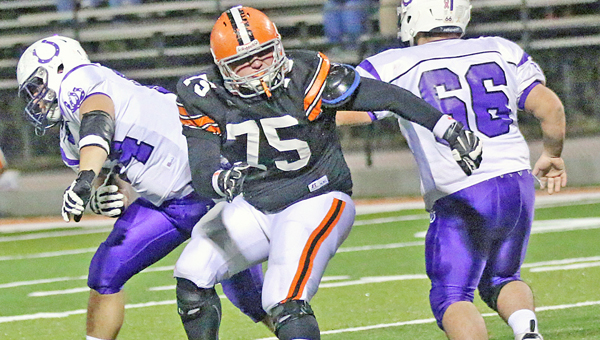 Ironton Fighting Tigers' senior tackle Isaac Sherman (75) was named to the Associated Press Division V All-Ohio third team on Wednesday. Sherman — a two-time All-Ohio selection — was one of 18 area players named All-Ohio. (Kent Sanborn of Southern Ohio Sports Photos.com)