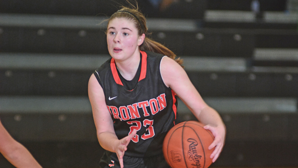 Ironton's' Sydney Webb (23) scored 21 points in a strong team effort as the Lady Fighting Tigers routed the Oak Hill Lady Oaks 74-46 on Monday. (Kent Sanborn of Southern Ohio Sports Photos)