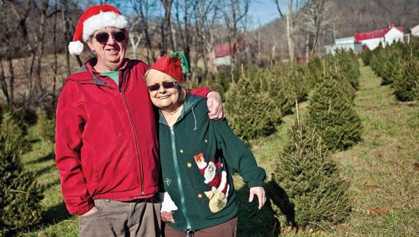 Tom and Patty Pinkerman stand amongst rows of Christmas trees on their farm located on State Route 775 just outside of Proctorville.